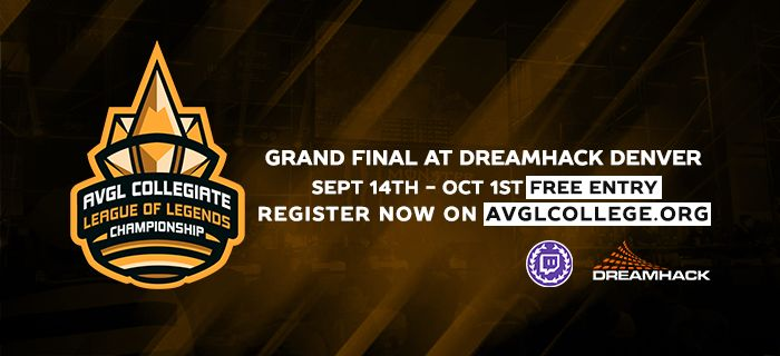 The AVGL has announced a free-entry collegiate LoL championship with the Grand Final on the DreamHack Main Stage! http://www.avglcollege.org/view-news.php?id=80 #games #LeagueOfLegends #esports #lol #riot #Worlds #gaming