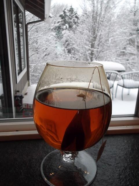 Blueberry Tea!    1 oz Grand Mariner,1 oz Amaretto, Earl Grey tea, & hot water.