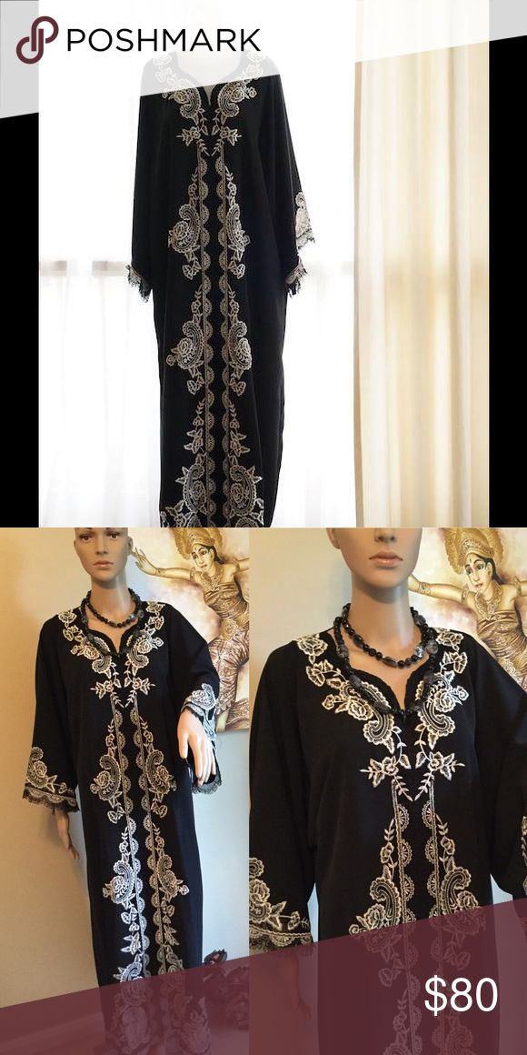 Embroidery Black  Kaftan made in Indonesia This item is New, never been used. No Tag. Only one stock. Embroidered on the material, lined inside. Hand made. Made in Indonesia. material : Buble( thicker than georgette) Dresses Long Sleeve