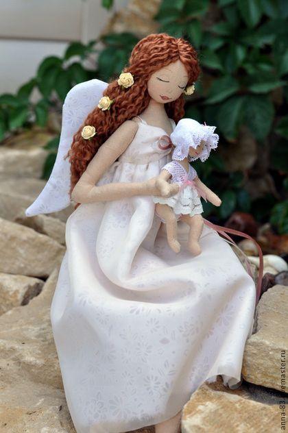 """Коллекционные куклы ручной работы. Ангел - мама. """"Анютины сказки"""". Ярмарка Мастеров. Ангел - мама, лен"""