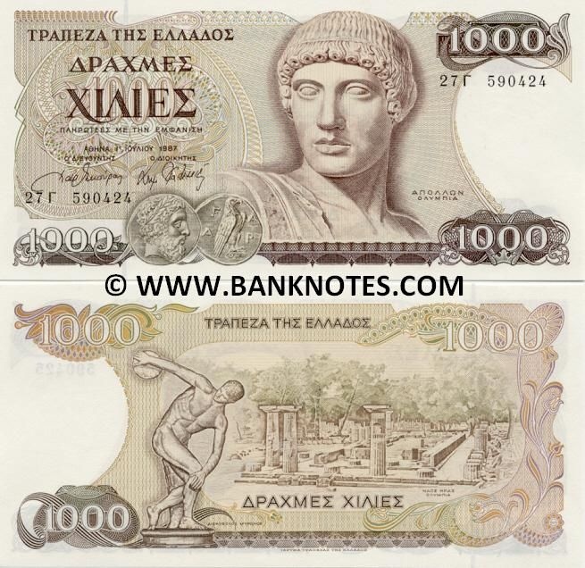 greece currency | Greece 1000 Drachmai 1987 - Greek Currency Bank Notes, Paper Money ...
