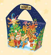 Vesele Sviato Gift Box - assorted Roshen chocolates, jellies, and caramels in a celebratory 'Vesele Sviato' gift box.