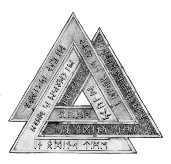"""The valknut, valknutr, valknot, or """"knot of the slain,"""" is an ancient Scandinavian symbol devoted to Odin. For this drawing, in addition to shading each triangle to distinguish them from each other..."""