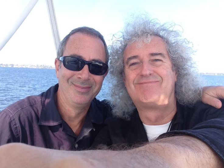 "rocketqueenlane:  "" Brian with Ben Elton on a boat in Perth.  """