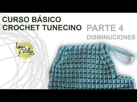 Curso Básico Crochet o Ganchillo Tunecino: Parte 4 Disminuciones - YouTube