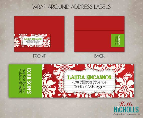 This listing is for the Christmas Damask Wrap Around Address label template.    You must have Microsoft Word to open and use this template.