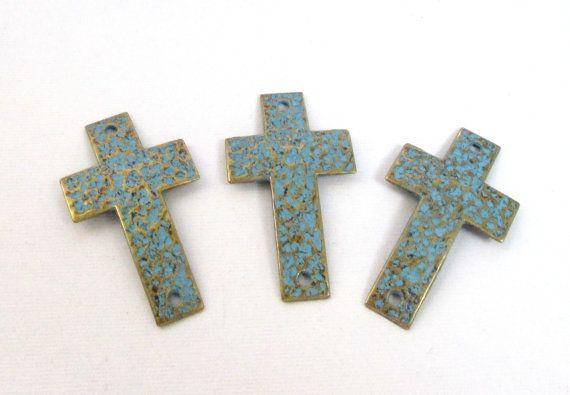 Brass Hammered Cross Link Teal Blue Bronze Rustic by BijiBijoux