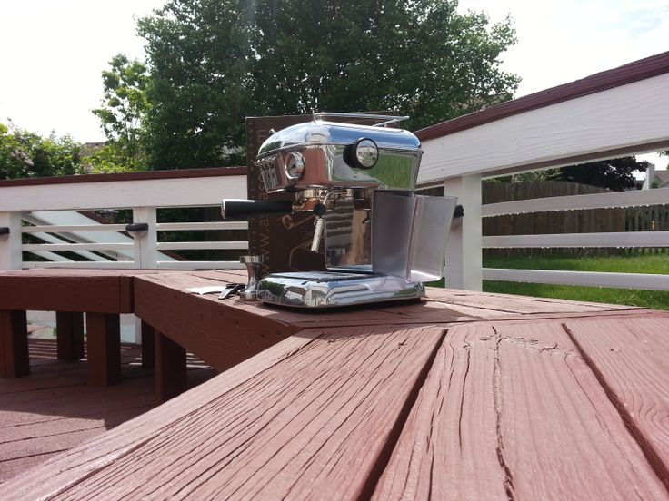 Ascaso Dream UP espresso machine outside on a deck.  http://www.ascasodream.com/