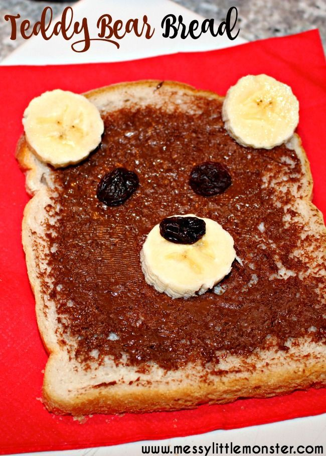 Teddy bear bread is a fun, no cook snack for kids. A simple food idea kids can cook themselves. Great for a teddy bears picnic or after school snack. A fun activity for a bear theme and to go with the book 'Time for Sleep' by Denise Fleming.