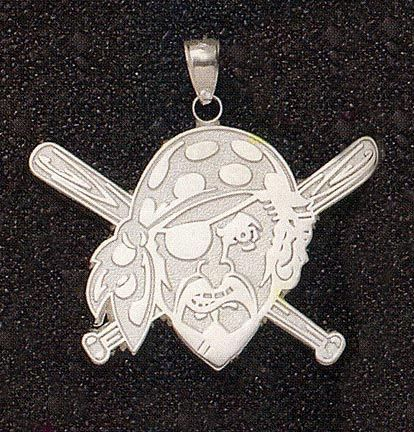 Pittsburgh Pirates Giant 2in W x 1 3/8in H 'Pirate with Baseball Bat' Pendant - 14KT Gold Jewelry