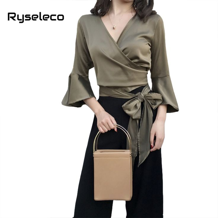 Women Spring Summer Fashion Sexy V-neck Flare Sleeve Criss Cross Wrap Short Blouses Ladies Novelty Bow Ties Vintage Shirts Tops -  www.eneryoh.com