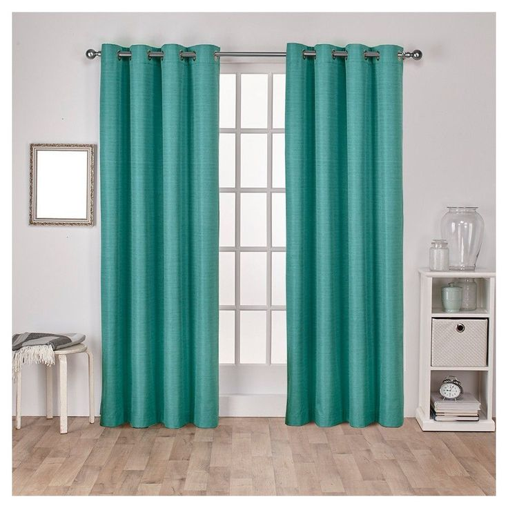 """Raw Silk Insulated Thermal Grommet Top Window Curtain Panel Pair Teal (Blue) (54""""x96"""") - Exclusive Home"""