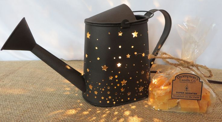 Country Electric Dark Brown Tin Punched STARS Watering Can Tart Warmer/Free Crumbles