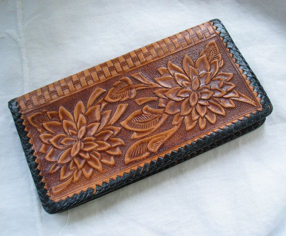 Western Tooled Leather Wallet/ Checkbook by marypearlsvintage, $26.00