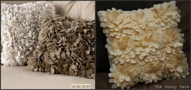The Gunny Sack: Tutorial Tuesday: Knockoff Delancey Felt Petal Pillow from Horchow~ hours of work on this one.... Lovely!