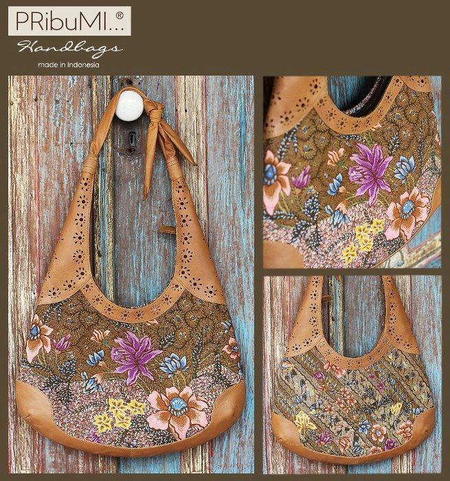 SALAWATI Bohemia Hobo Bag / Premium Series / Small Size / Serial # 1812693F / Kain Demakan Pagi Sore Liris Bunga Orange / Walnut Italian Premium Genuine Cow Leather / 13 February 2013 / by Chaysira Sabrina