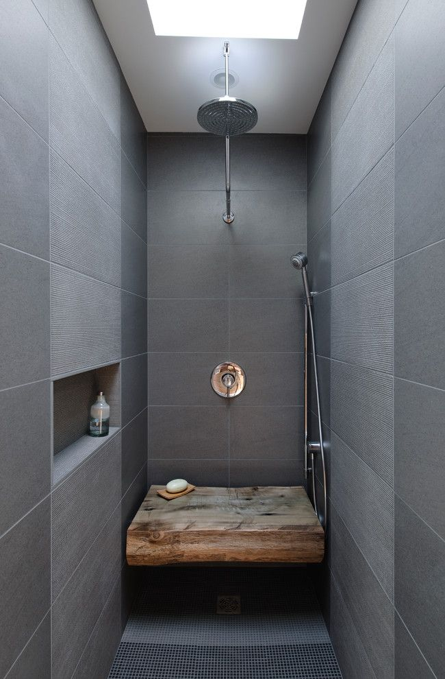 Reclaimed Wood Bench, And A Patterened Stone Tile Wall Blend Gloriously In  This Open Raindance Shower. Dyna   Portage Bay   Industrial   Bathroom ...