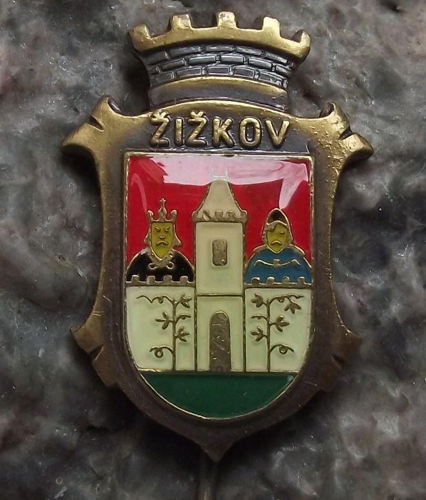 Antique Prague Zizkov District Praha 3 Heraldic Crest Coat of Arms Pin Badge