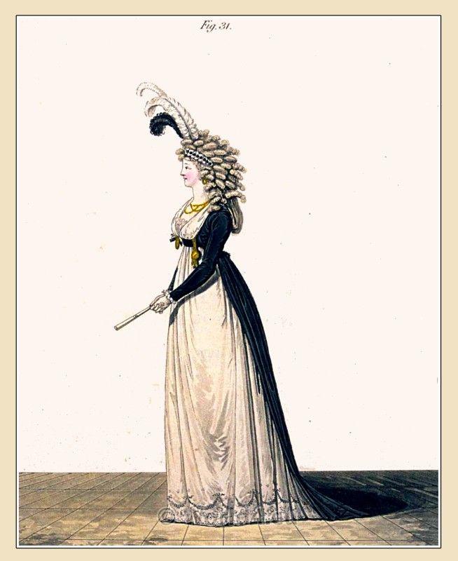 Costumi Regency. La Galleria della Moda.Abito Pomeriggio in mezzo lutto novembre 1794