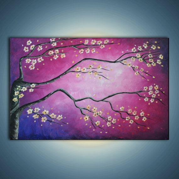 Originele kersenbloesem Zen schilderij. Magische magenta sky-hedendaagse landschap. Kersenboom met whitefllowers op magenta, paars, blauw. Violet hemel. Afmetingen doek: 24 x 36. 3/4 Stretched gallery gewikkeld doek. Zijden geschilderd zwart, nietjes achterop. Medium: - acryl verf op doek. Vernis:-een beschermende laag vernis ter bescherming van uw investering tegen vuil en UV-licht schade. Geparafeerd in het front en gedateerd en ondertekend door de kunstenaar op de achterkant. In de ...