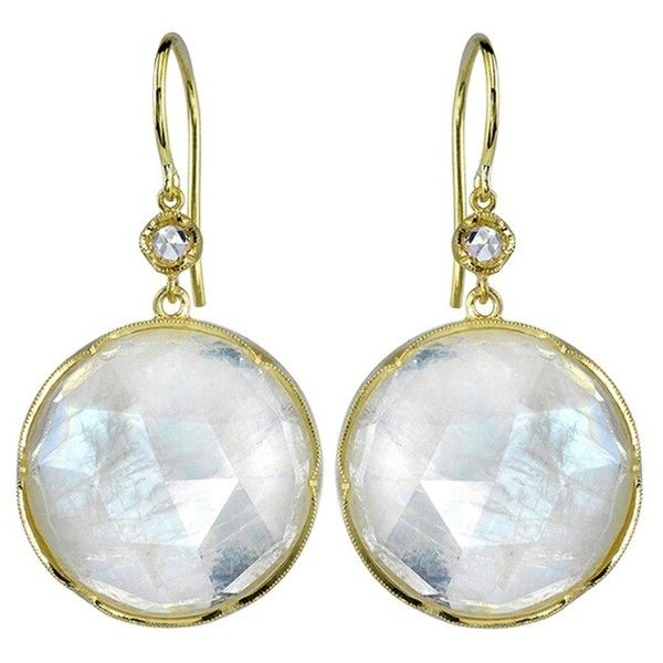 Irene Neuwirth Round Rose Cut Rainbow Moonstone Earrings - Yellow Gold (€2.925) ❤ liked on Polyvore featuring jewelry, earrings, gold round earrings, handcrafted jewellery, 18 karat gold jewelry, rainbow moonstone earrings and 18 karat gold earrings