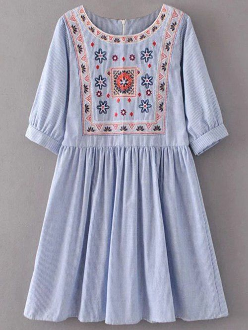 Striped Embroidered Smock Mini Dress - Azul claro L