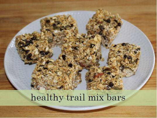 healthy trail mix bars.