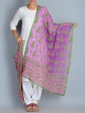 Purple-Green Kota Doria Cotton Chikankari Embroidered Dupatta