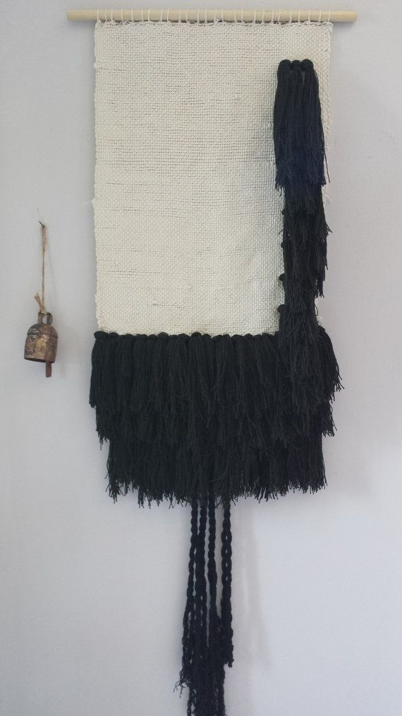 Wall Hanging weaving Black and White by Woodrowandco on Etsy