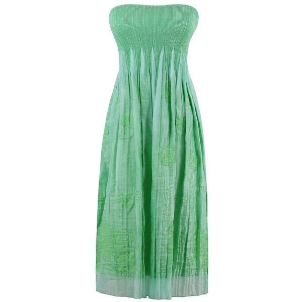 Blossom Embroidered Pleated Elastic Bandeau Beach Dress ($22) ❤ liked on Polyvore featuring dresses, pleated dresses, green bandeau dress, green pleated dress, bandeau dress and elastic dress