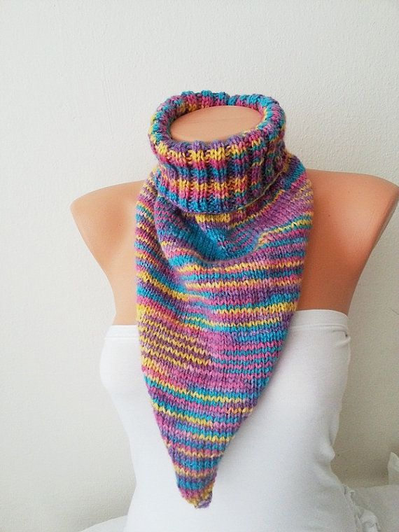 LUX SCARF  Colorful neck warmers with buttonChunky  by NesrinArt, $35.00
