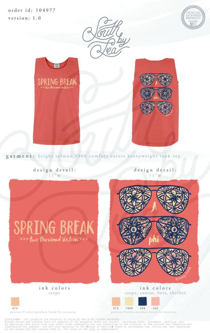 Alpha Phi | Spring Break 2016 | Sunglasses T-Shirt Design | South by Sea | Greek…