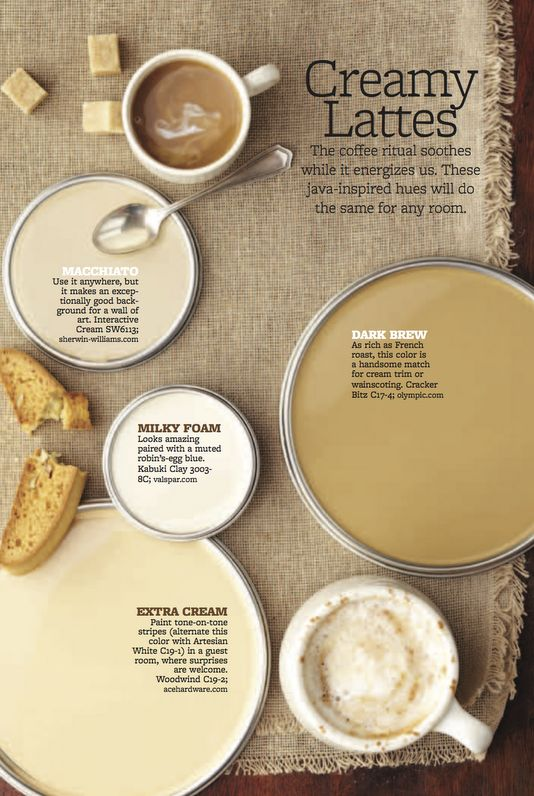 Color palette: creamy lattes