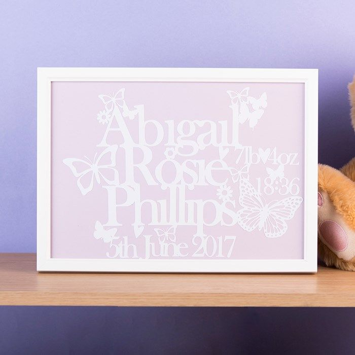Personalised Papercut Framed Print - New Baby | GettingPersonal.co.uk