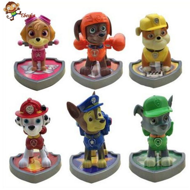 6/ set Puppy Patrol Canine Patrol Dog Toys With shield Russian Anime Doll Action Figures Car Toy Patrulla Gift for Child