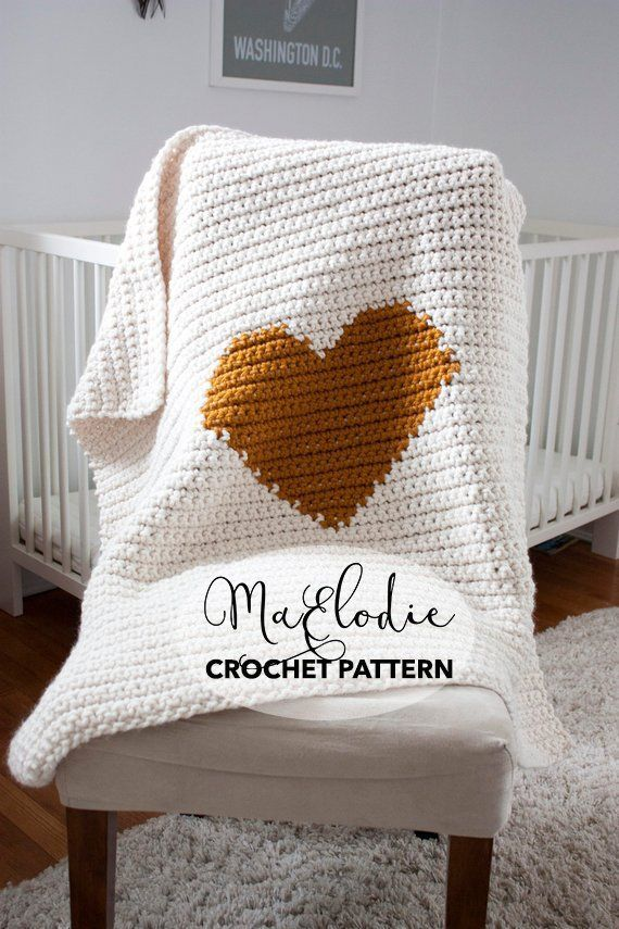 Mon Ami Blanket Crochet Pattern Chunky Heart Baby Blanket Etsy Baby Blanket Crochet Pattern Baby Blanket Crochet Crochet Heart Blanket