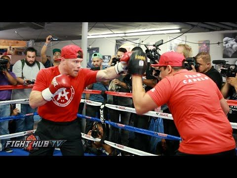 Canelo shows speed & combination punching on the mitts in media workout- Canelo vs. Smith video - YouTube