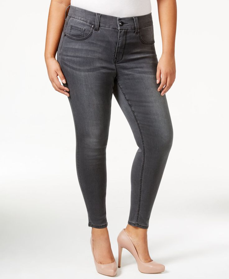 Melissa McCarthy Seven7 Plus Size Skinny Pencil Grey Wash Jeans