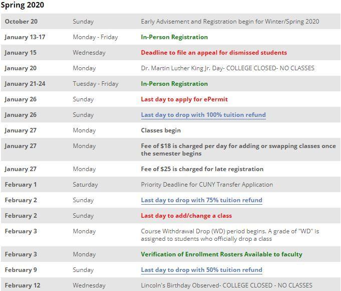 BMCC Academic Calendar Spring 2020 https://.youcalendars.
