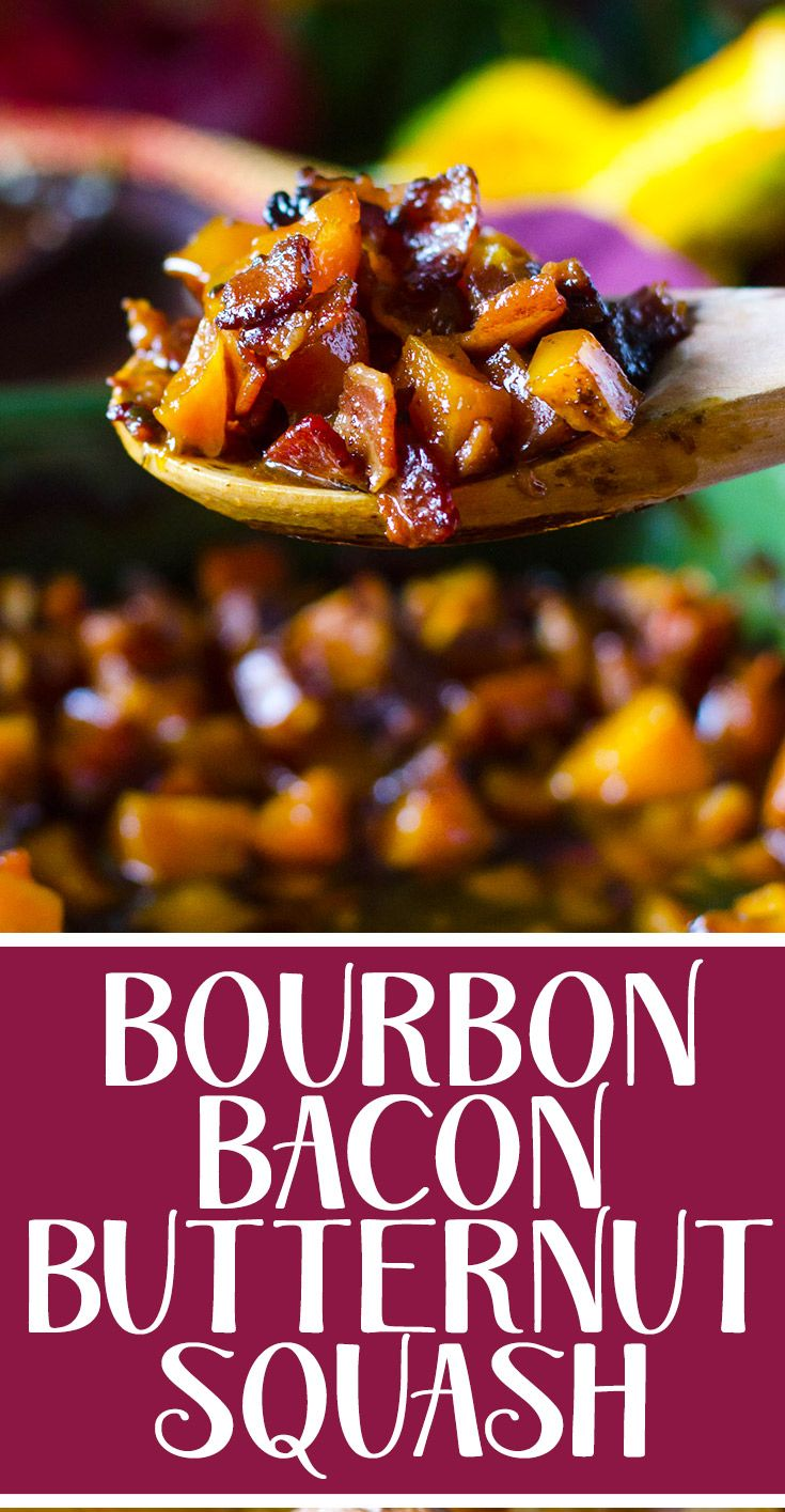 This easy roasted butternut squash recipe has bourbon, bacon, and brown sugar for a flavorful Thanksgiving side dish! | @gogogogourmet