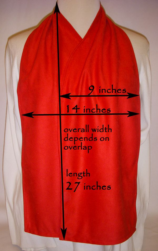 Dimensions for the Cravaat dining scarf- project for HCS.
