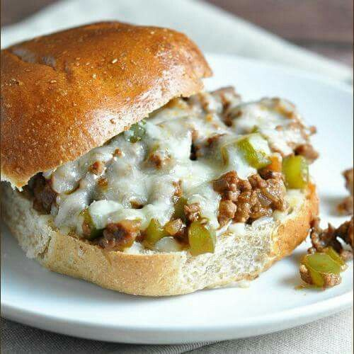 Yummy  **Philly Cheese Steak Sloppy Joes** are my new favorite dinner mash up! Get the recipe: http://bellyfull.net/2015/04/17/philly-cheese-steak-sloppy-joes/