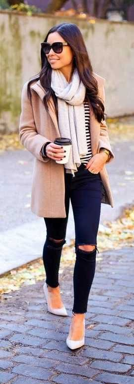 2019-2020 Autumn Winter Combinations Blue Ripped Pants Striped Pullover Brown Coats