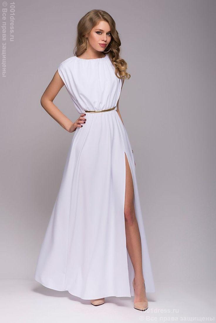 Белое платье длины макси в греческом стиле. Легкое вечернее платье длины макси в греческом стиле, выполненное из белого креп-шифона. Летящая юбка, небольшая драпировка, открытая спина создают великолепный образ, который призван вызывать восхищенные взгляды окружающих. Для завершения композиции остается только подчеркнуть тонкую талию ремешком и отправляться на праздник.