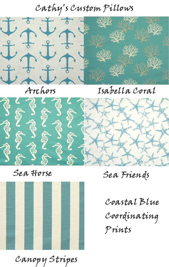 Coastal Home Decor Fabric | CUSTOM TABLE RUNNER Premier Fabric Coastal Blue Nautical Print Slub ...