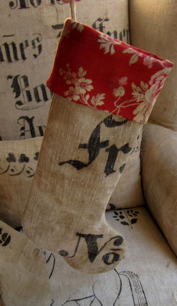Antiqu-ey German  Grain Sack Christmas Stocking