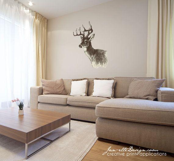 Wall Decal, Rustic Deer Head Fabric Wall Decal