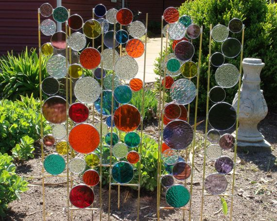 Stained Glass Garden Art Stake Red Yellow Orange By BelloGlass