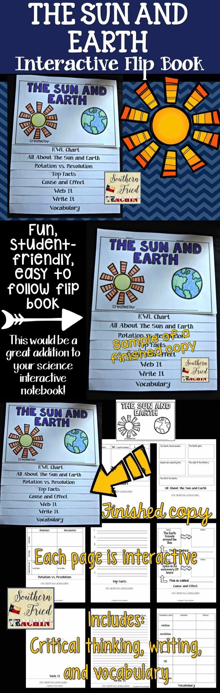 Fun interactive flip book on the sun and earth. Perfect for review and assessment.