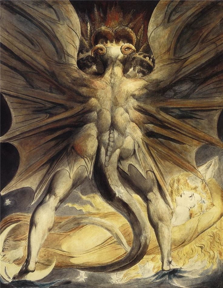 The Red Dragon and the Woman Clothed with the Sun; Artist:William Blake; Start Date:1803; Completion Date:1805; Style:Symbolism; Genre:symbolic painting; Technique:watercolor.